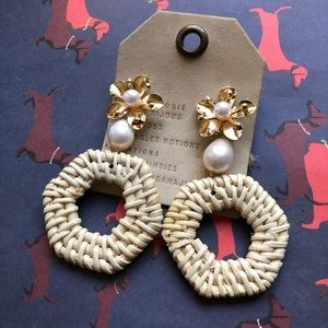 NWT Anthropologie gold floral statement earrings